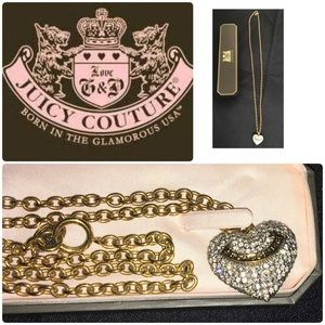 Juicy Couture long gold pave necklace